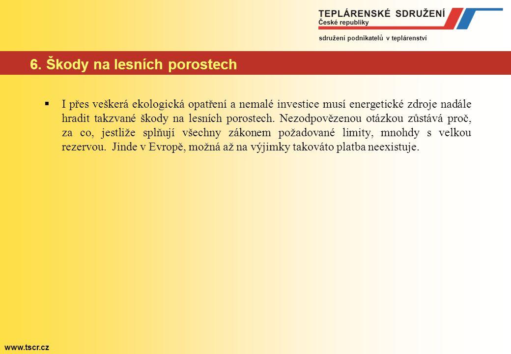 sdružení podnikatelů v teplárenství www.tscr.cz 6. Škody na lesních porostech  I přes veškerá ekologická opatření a nemalé investice musí energetické