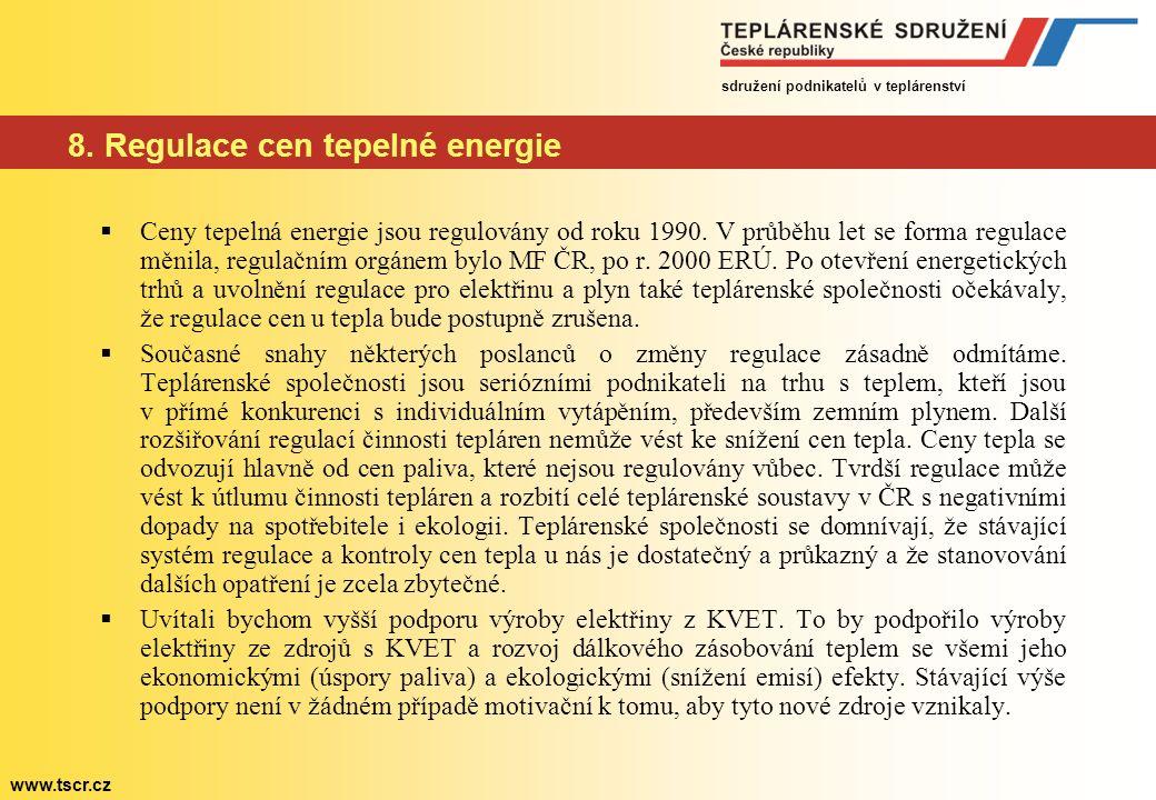 sdružení podnikatelů v teplárenství www.tscr.cz 8. Regulace cen tepelné energie  Ceny tepelná energie jsou regulovány od roku 1990. V průběhu let se