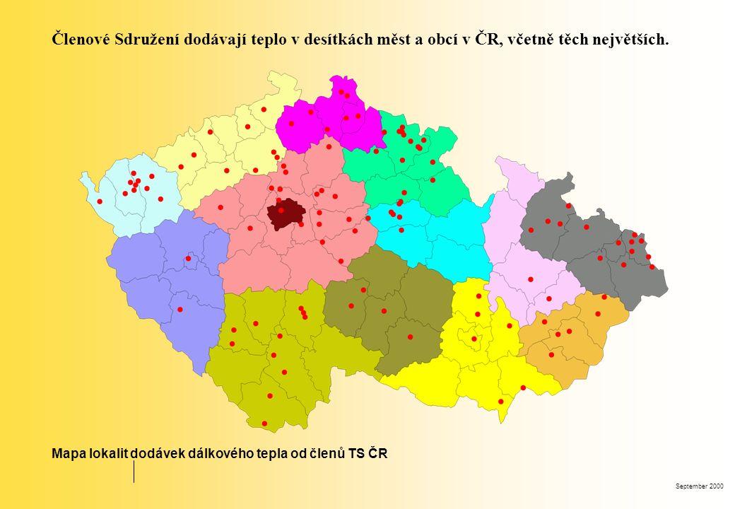 September 2000 Členové Sdružení dodávají teplo v desítkách měst a obcí v ČR, včetně těch největších. Mapa lokalit dodávek dálkového tepla od členů TS