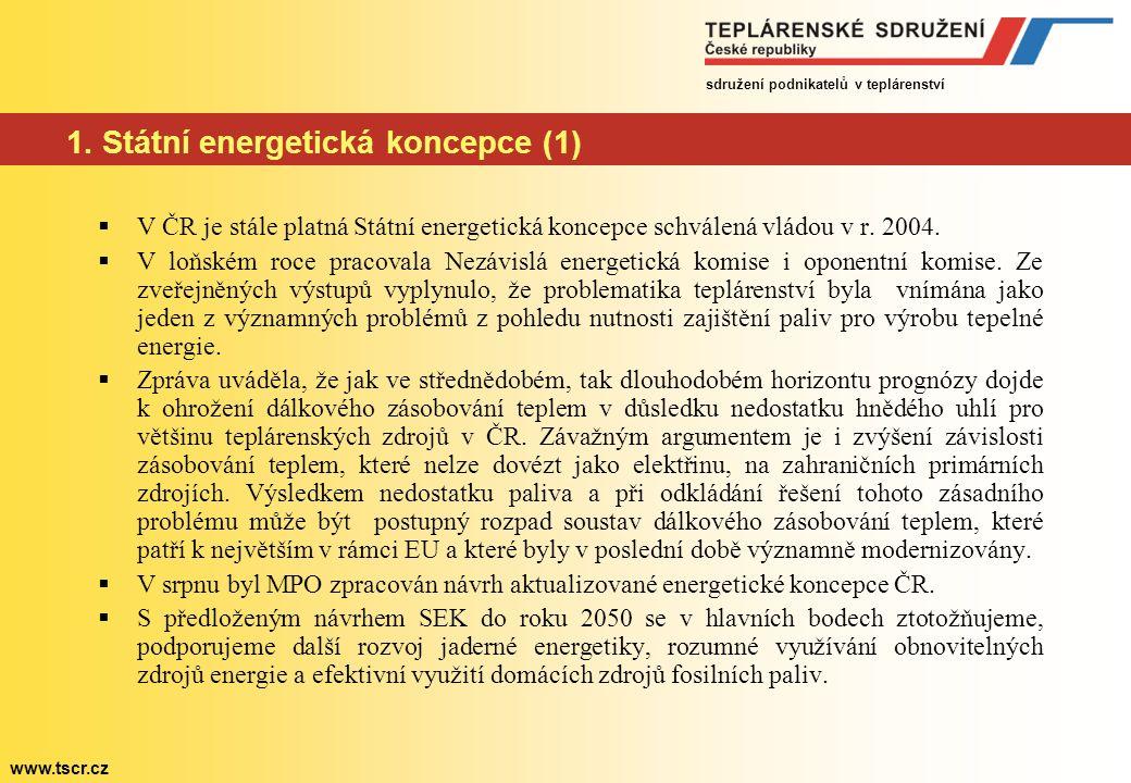 sdružení podnikatelů v teplárenství www.tscr.cz Státní energetická koncepce (2)  Návrh aktualizace SEK však dostatečně neřeší otázku možného nedostatku uhlí pro stávající zdroje v nejbližší době.