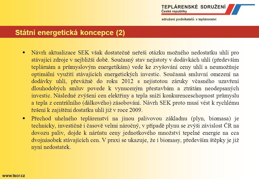 sdružení podnikatelů v teplárenství www.tscr.cz Státní energetická koncepce (2)  Návrh aktualizace SEK však dostatečně neřeší otázku možného nedostat