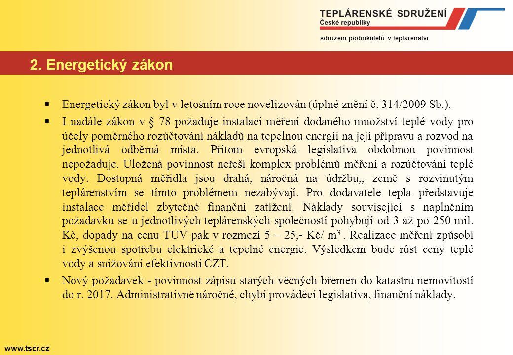 sdružení podnikatelů v teplárenství www.tscr.cz 2. Energetický zákon  Energetický zákon byl v letošním roce novelizován (úplné znění č. 314/2009 Sb.)