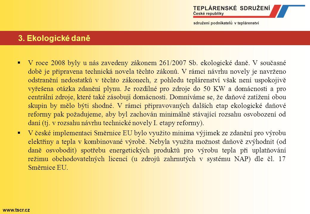 sdružení podnikatelů v teplárenství www.tscr.cz 3. Ekologické daně  V roce 2008 byly u nás zavedeny zákonem 261/2007 Sb. ekologické daně. V současné