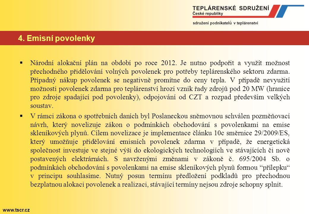 sdružení podnikatelů v teplárenství www.tscr.cz 4. Emisní povolenky  Národní alokační plán na období po roce 2012. Je nutno podpořit a využít možnost