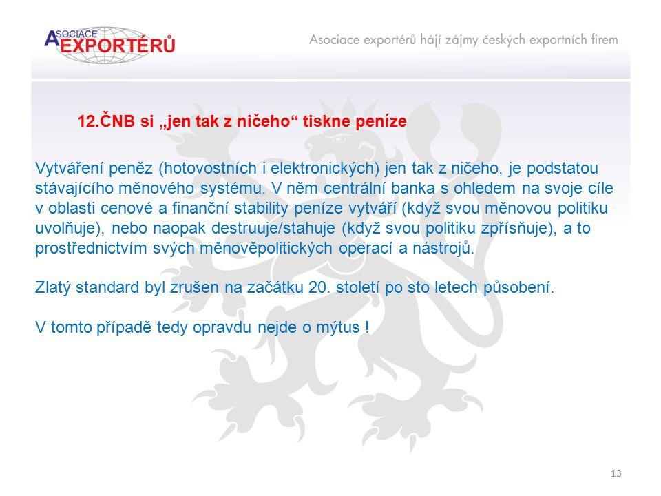 """13 12.ČNB si """"jen tak z ničeho"""" tiskne peníze Vytváření peněz (hotovostních i elektronických) jen tak z ničeho, je podstatou stávajícího měnového syst"""