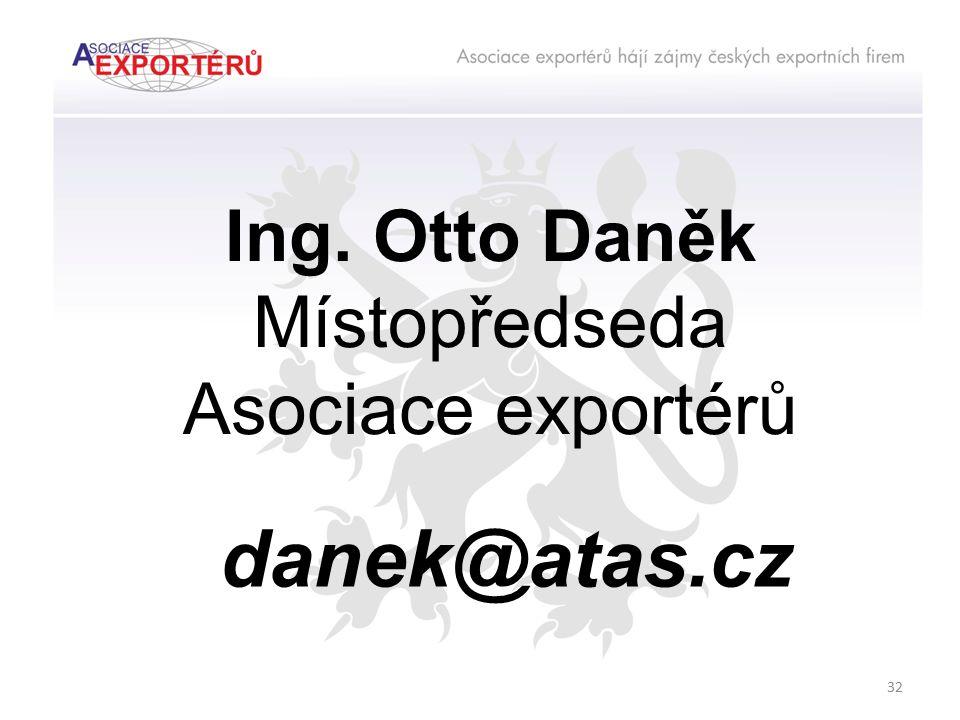 danek@atas.cz Ing. Otto Daněk Místopředseda Asociace exportérů 32