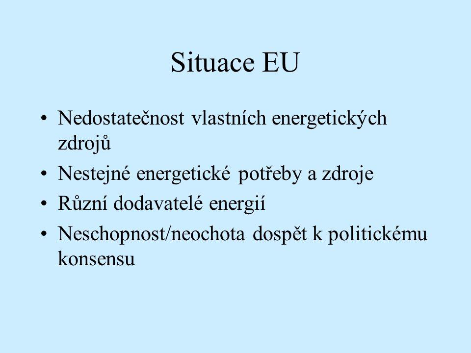 Situace EU Nedostatečnost vlastních energetických zdrojů Nestejné energetické potřeby a zdroje Různí dodavatelé energií Neschopnost/neochota dospět k