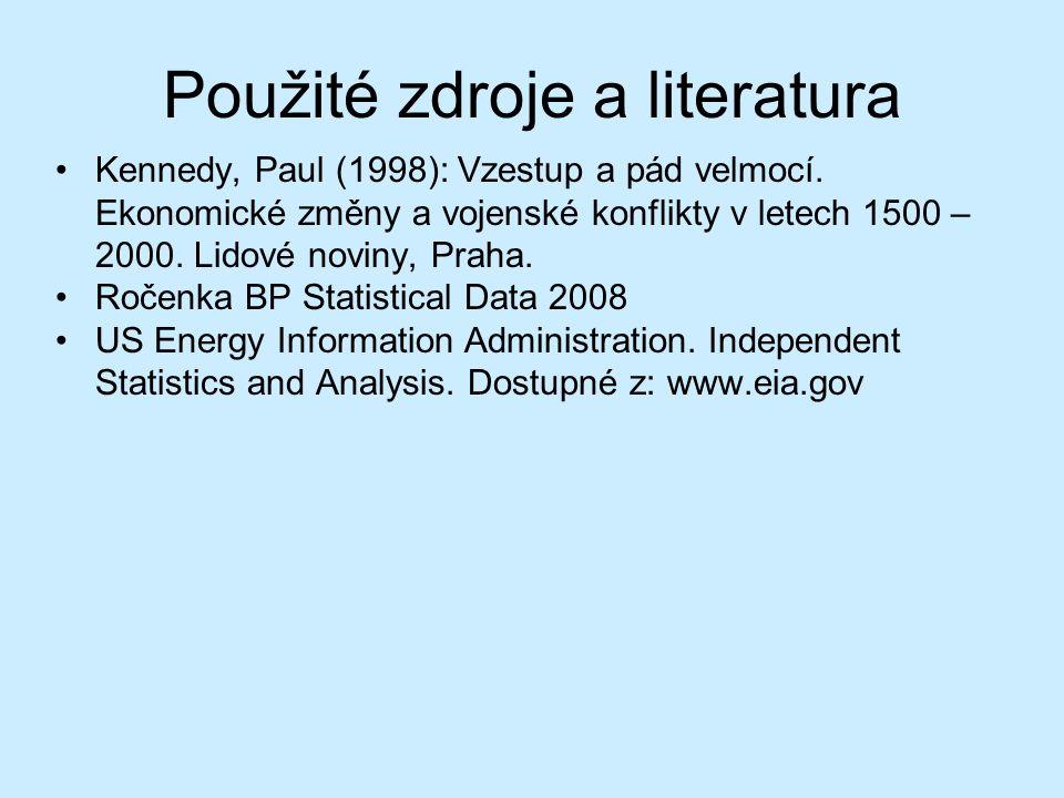 Použité zdroje a literatura Kennedy, Paul (1998): Vzestup a pád velmocí. Ekonomické změny a vojenské konflikty v letech 1500 – 2000. Lidové noviny, Pr