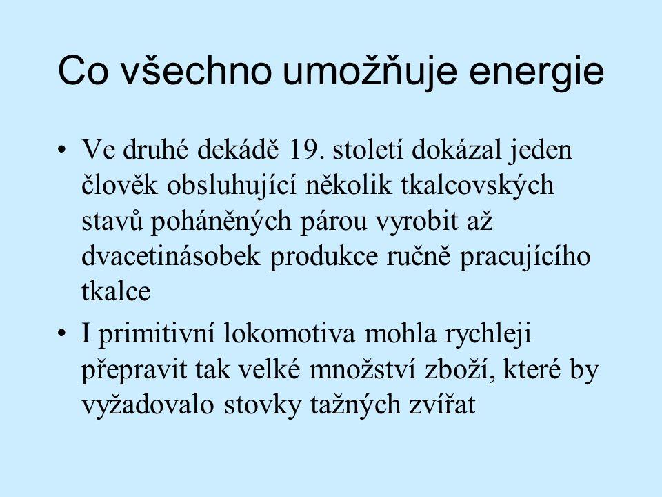 Co způsobila energetická modernizace Západu Schopnost využívat energii z moderních zdrojů (uhlí, ropa) způsobila ZÁNIK MIMOEVROPSKÉHO SVĚTA Roku 1800 Evropané okupovali (kontrolovali) 35% světové souše 1878 – 67% 1914 – 84%