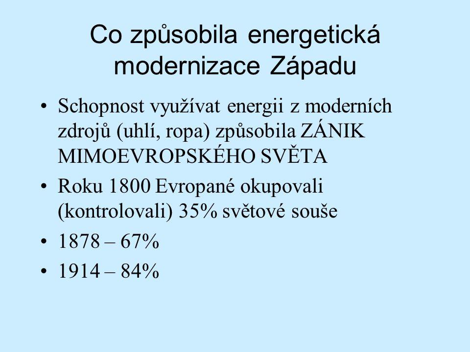 Co způsobila energetická modernizace Západu Schopnost využívat energii z moderních zdrojů (uhlí, ropa) způsobila ZÁNIK MIMOEVROPSKÉHO SVĚTA Roku 1800