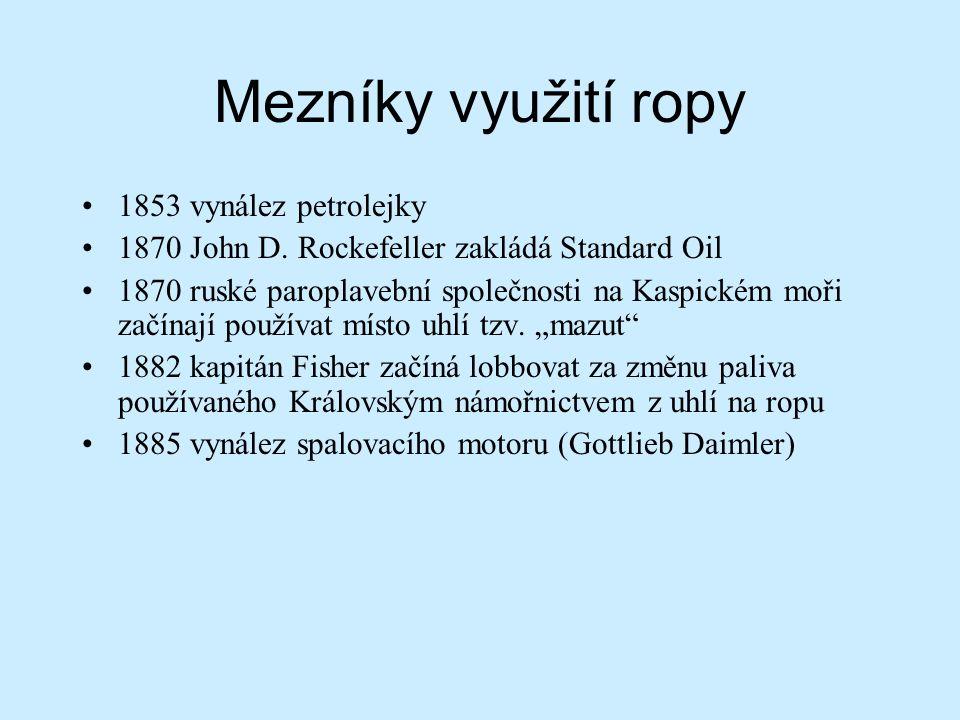 Mezníky využití ropy 1908 zahájení komerční těžby ropy na Blízkém východě (v dnešním Íránu) 1912 největší světoví producenti USA (63%), Rusko (okolí Baku v dnešním Ázerbájdžánu 19%), Mexiko (5%) V průběhu 1.