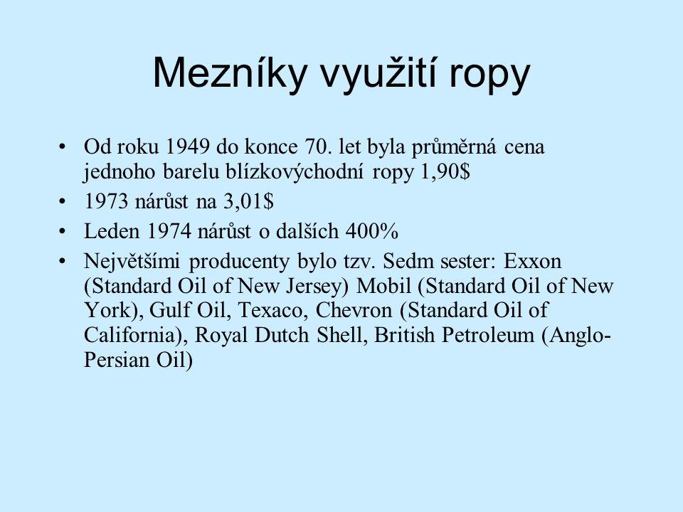 Mezníky využití ropy Od roku 1949 do konce 70. let byla průměrná cena jednoho barelu blízkovýchodní ropy 1,90$ 1973 nárůst na 3,01$ Leden 1974 nárůst