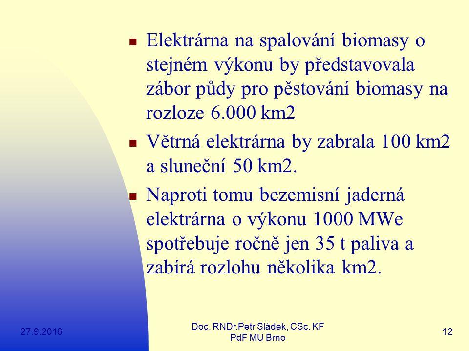 27.9.2016 Doc. RNDr.Petr Sládek, CSc. KF PdF MU Brno 12 Elektrárna na spalování biomasy o stejném výkonu by představovala zábor půdy pro pěstování bio