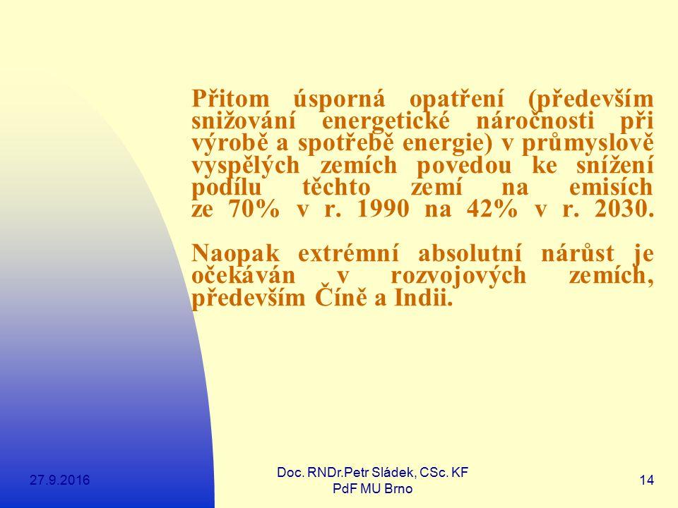 27.9.2016 Doc. RNDr.Petr Sládek, CSc. KF PdF MU Brno 14 Přitom úsporná opatření (především snižování energetické náročnosti při výrobě a spotřebě ener