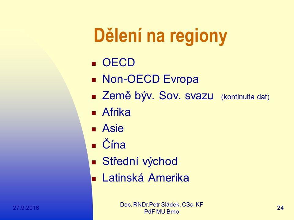 27.9.2016 Doc. RNDr.Petr Sládek, CSc. KF PdF MU Brno 24 Dělení na regiony OECD Non-OECD Evropa Země býv. Sov. svazu (kontinuita dat) Afrika Asie Čína