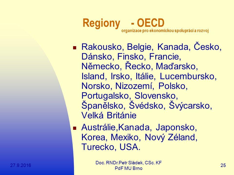27.9.2016 Doc. RNDr.Petr Sládek, CSc. KF PdF MU Brno 25 Regiony - OECD organizace pro ekonomickou spolupráci a rozvoj Rakousko, Belgie, Kanada, Česko,