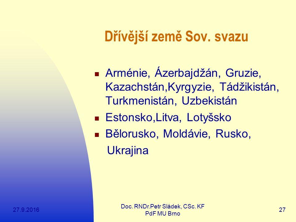 27.9.2016 Doc.RNDr.Petr Sládek, CSc. KF PdF MU Brno 27 Dřívější země Sov.