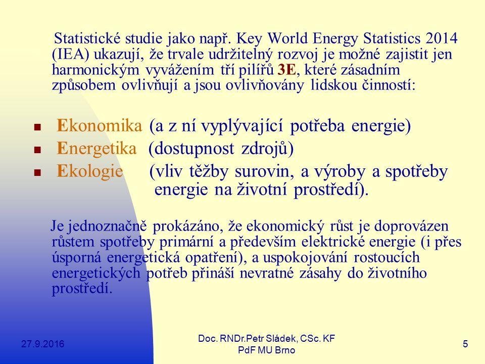 27.9.2016 Doc. RNDr.Petr Sládek, CSc. KF PdF MU Brno 5 Statistické studie jako např. Key World Energy Statistics 2014 (IEA) ukazují, že trvale udržite