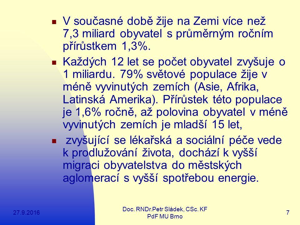 27.9.2016 Doc. RNDr.Petr Sládek, CSc. KF PdF MU Brno 7 V současné době žije na Zemi více než 7,3 miliard obyvatel s průměrným ročním přírůstkem 1,3%.