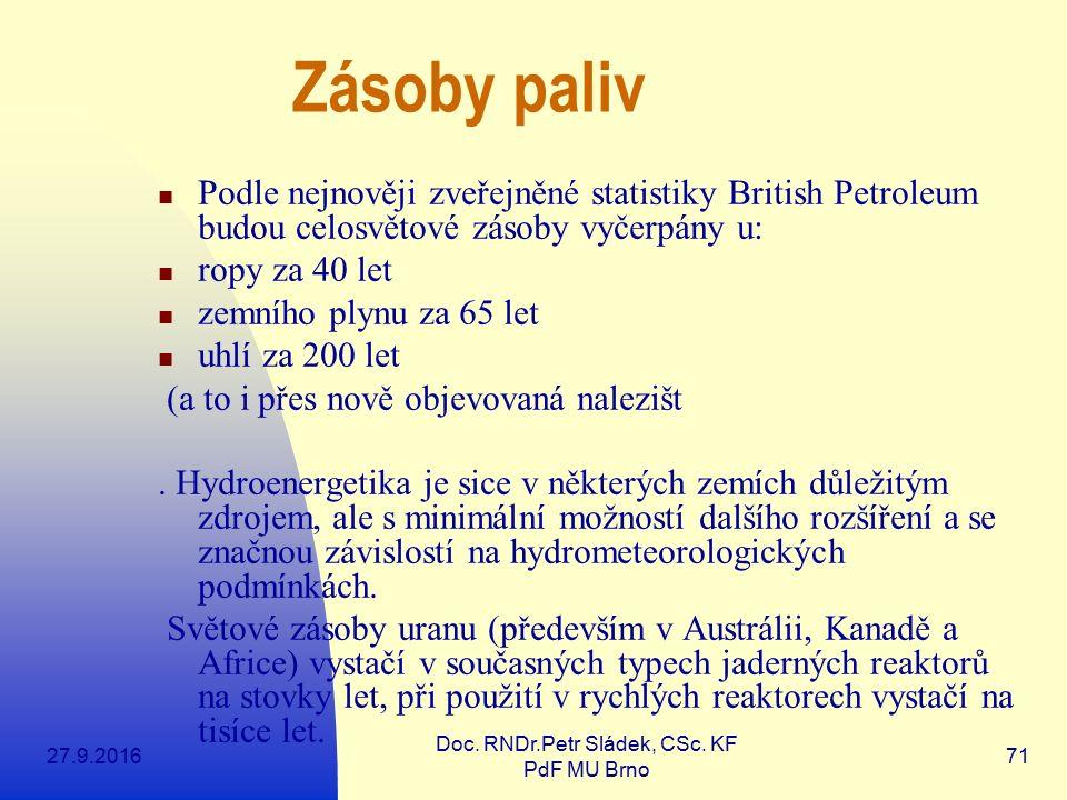 27.9.2016 Doc. RNDr.Petr Sládek, CSc. KF PdF MU Brno 71 Zásoby paliv Podle nejnověji zveřejněné statistiky British Petroleum budou celosvětové zásoby