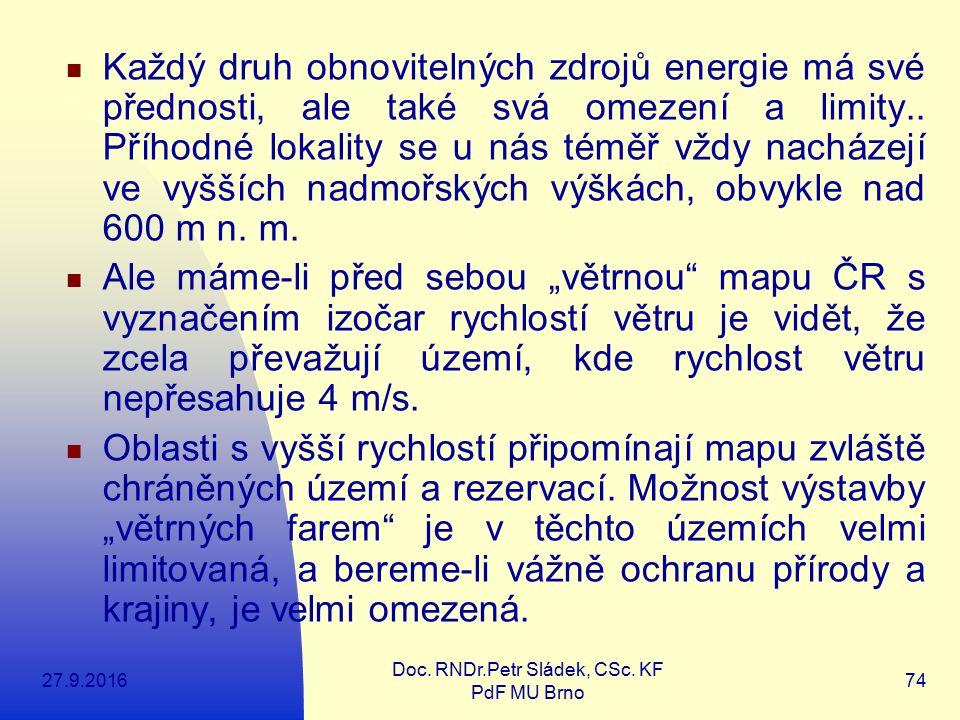 27.9.2016 Doc. RNDr.Petr Sládek, CSc. KF PdF MU Brno 74 Každý druh obnovitelných zdrojů energie má své přednosti, ale také svá omezení a limity.. Příh