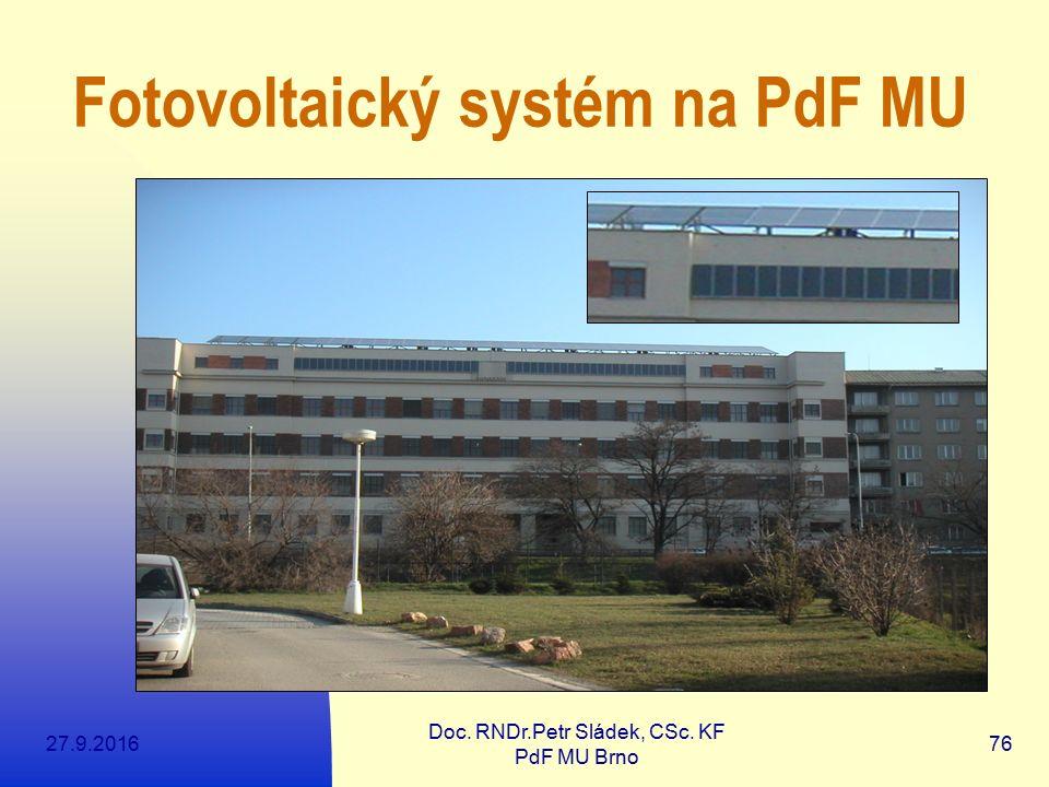 27.9.2016 Doc. RNDr.Petr Sládek, CSc. KF PdF MU Brno 76 Fotovoltaický systém na PdF MU