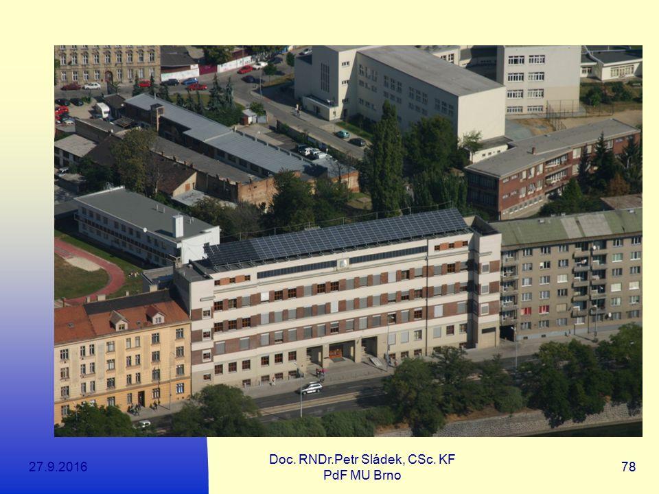 27.9.2016 Doc. RNDr.Petr Sládek, CSc. KF PdF MU Brno 78