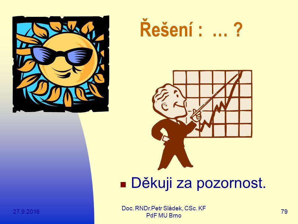 27.9.2016 Doc. RNDr.Petr Sládek, CSc. KF PdF MU Brno 79 Děkuji za pozornost. Řešení : … ?