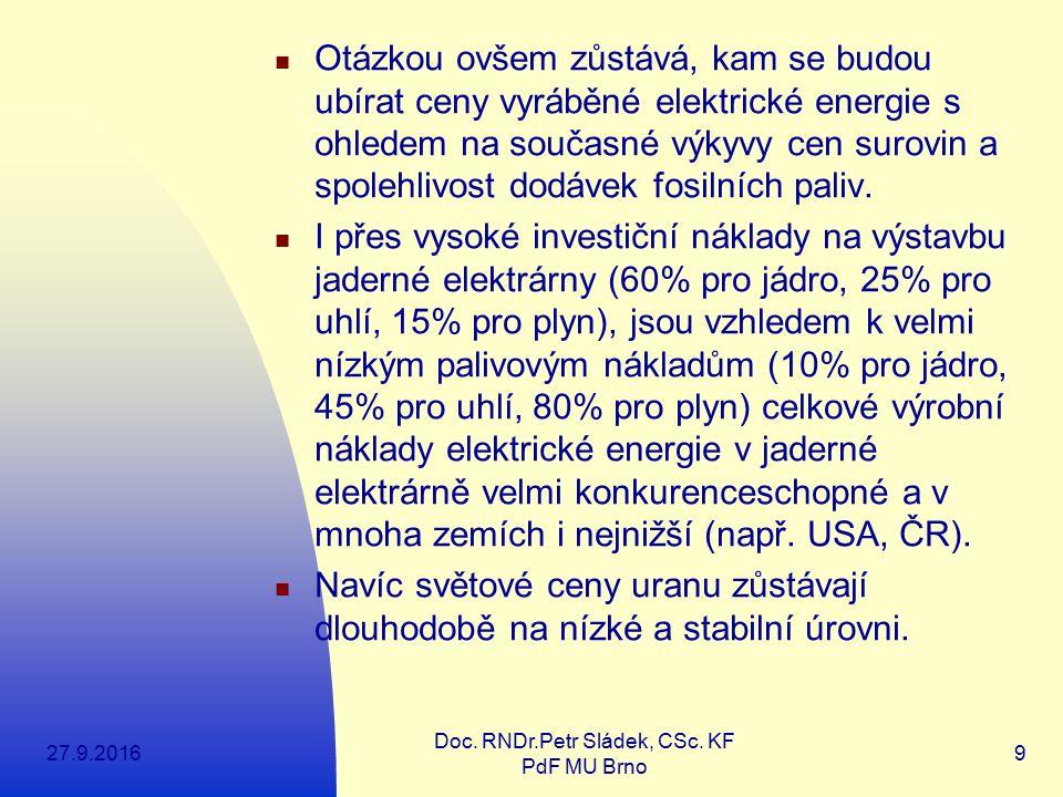 27.9.2016 Doc. RNDr.Petr Sládek, CSc. KF PdF MU Brno 9 Otázkou ovšem zůstává, kam se budou ubírat ceny vyráběné elektrické energie s ohledem na součas