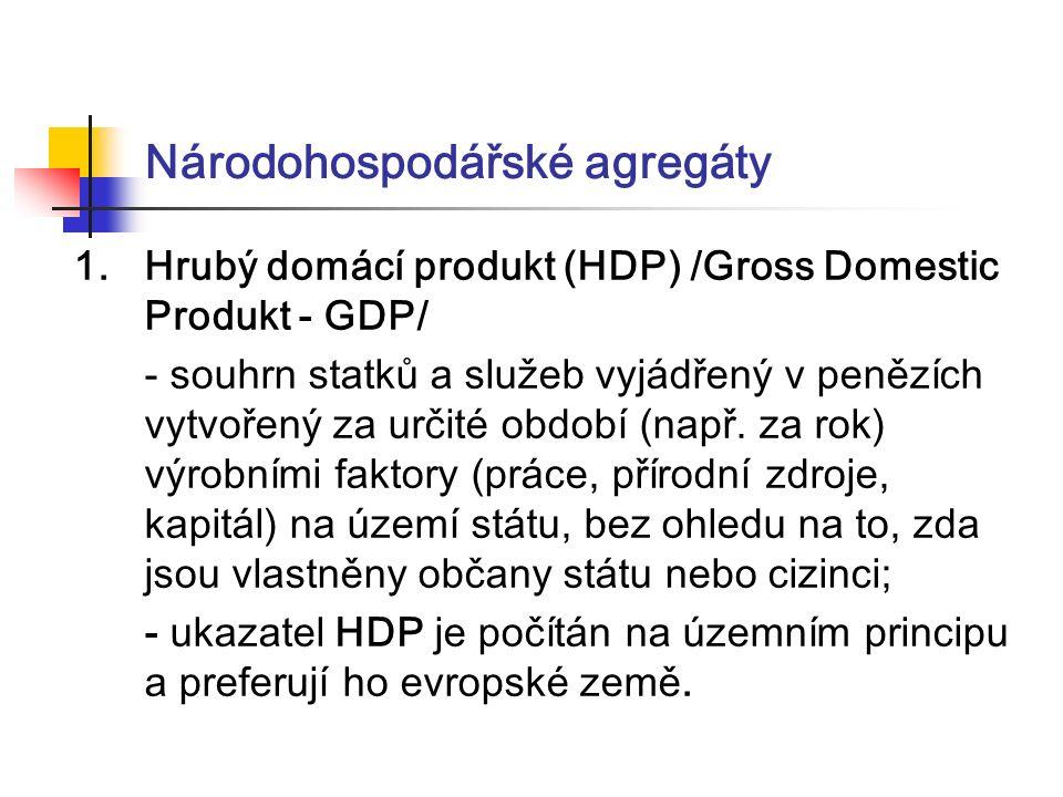 Národohospodářské agregáty 1.Hrubý domácí produkt (HDP) /Gross Domestic Produkt - GDP/ - souhrn statků a služeb vyjádřený v penězích vytvořený za určité období (např.