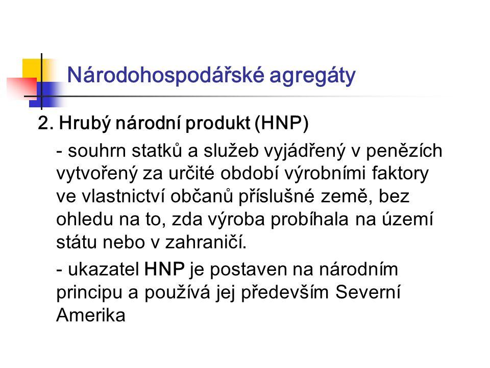 Národohospodářské agregáty 2. Hrubý národní produkt (HNP) - souhrn statků a služeb vyjádřený v penězích vytvořený za určité období výrobními faktory v