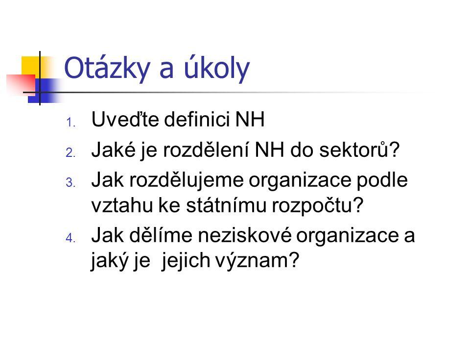 Otázky a úkoly 1. Uveďte definici NH 2. Jaké je rozdělení NH do sektorů.