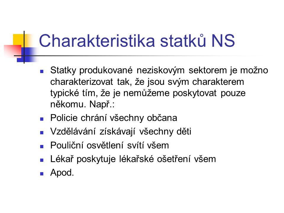 Charakteristika statků NS Statky produkované neziskovým sektorem je možno charakterizovat tak, že jsou svým charakterem typické tím, že je nemůžeme poskytovat pouze někomu.