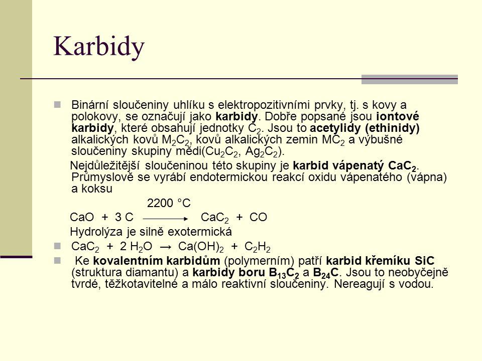 Karbidy Binární sloučeniny uhlíku s elektropozitivními prvky, tj.
