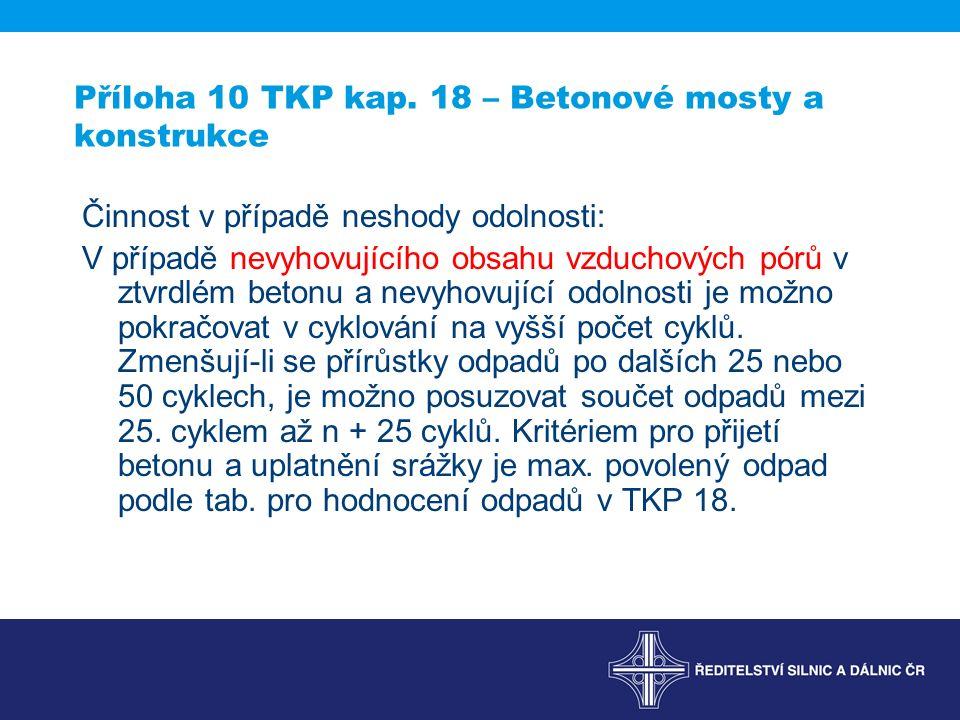 Příloha 10 TKP kap. 18 – Betonové mosty a konstrukce Činnost v případě neshody odolnosti: V případě nevyhovujícího obsahu vzduchových pórů v ztvrdlém