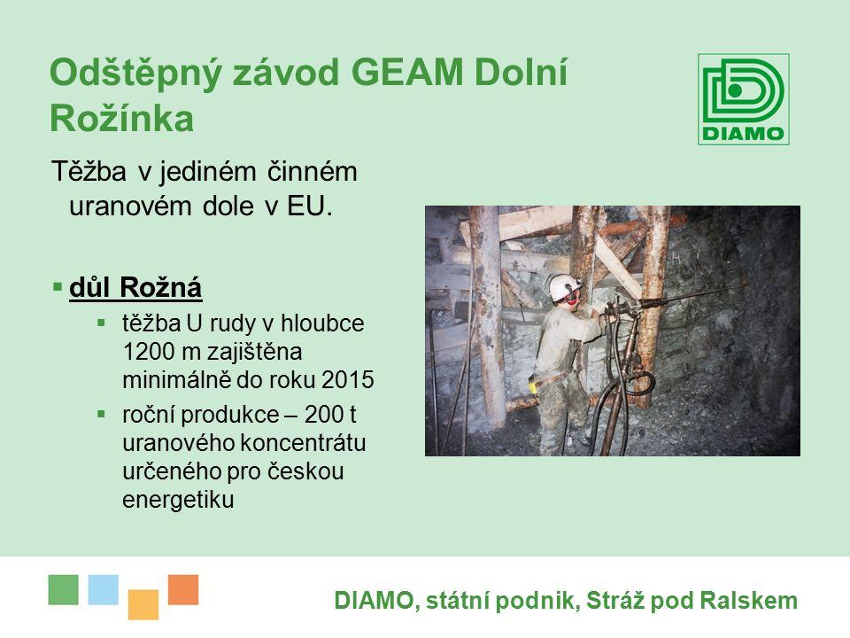 DIAMO, státní podnik, Stráž pod Ralskem Odštěpný závod GEAM Dolní Rožínka Těžba v jediném činném uranovém dole v EU.
