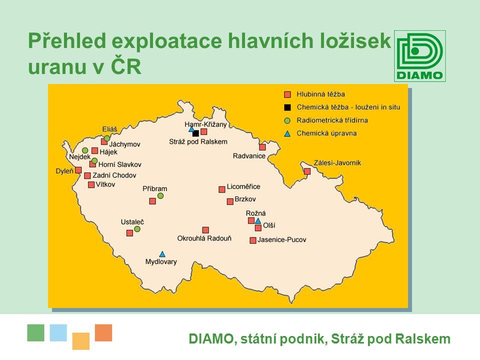 DIAMO, státní podnik, Stráž pod Ralskem Přehled exploatace hlavních ložisek uranu v ČR