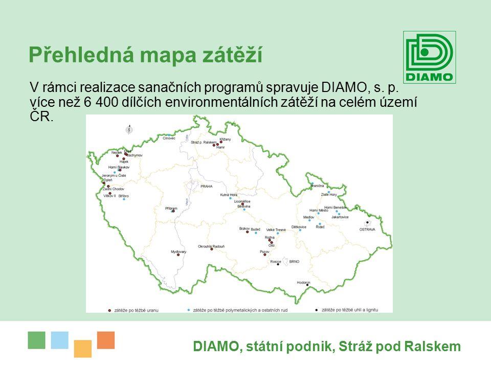 DIAMO, státní podnik, Stráž pod Ralskem Přehledná mapa zátěží V rámci realizace sanačních programů spravuje DIAMO, s.