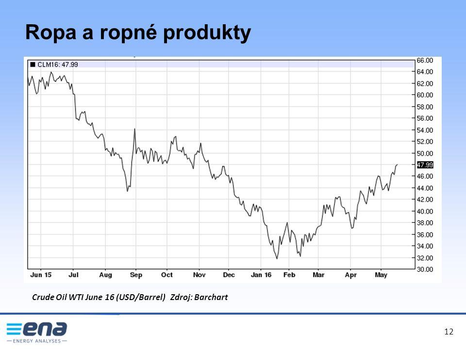 12 Ropa a ropné produkty 12 Crude Oil WTI June 16 (USD/Barrel) Zdroj: Barchart