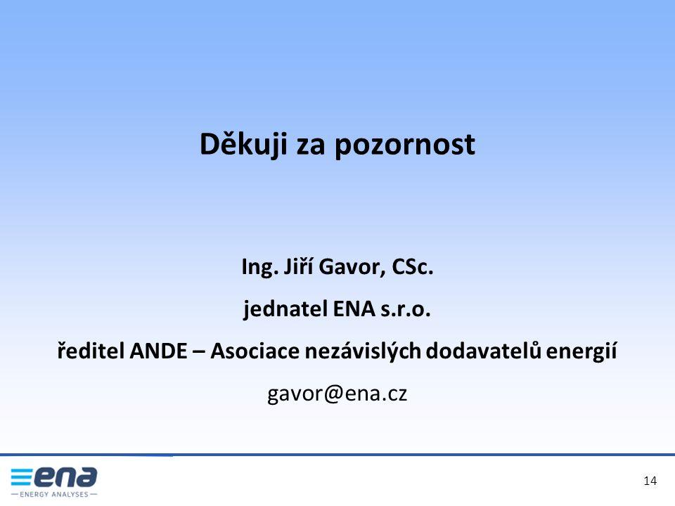 Děkuji za pozornost 14 Ing. Jiří Gavor, CSc. jednatel ENA s.r.o. ředitel ANDE – Asociace nezávislých dodavatelů energií gavor@ena.cz
