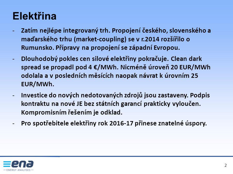2 Elektřina -Zatím nejlépe integrovaný trh. Propojení českého, slovenského a maďarského trhu (market-coupling) se v r.2014 rozšířilo o Rumunsko. Přípr