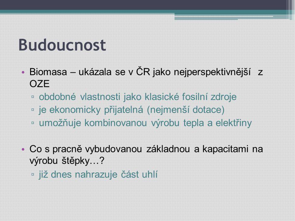 Budoucnost Biomasa – ukázala se v ČR jako nejperspektivnější z OZE ▫ obdobné vlastnosti jako klasické fosilní zdroje ▫ je ekonomicky přijatelná (nejme