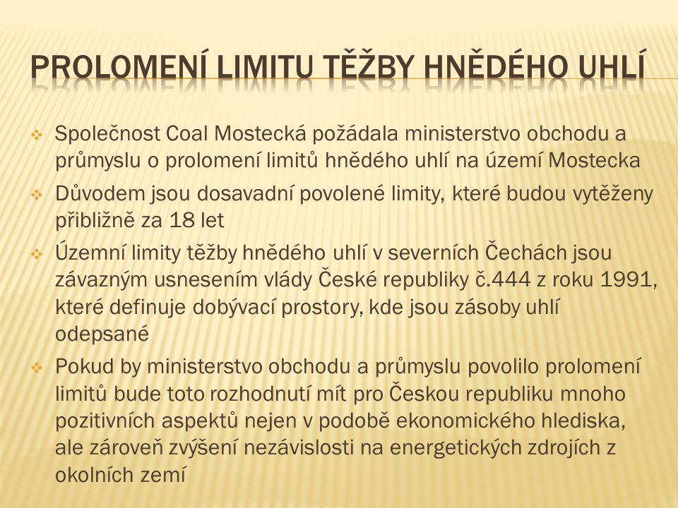  Společnost Coal Mostecká požádala ministerstvo obchodu a průmyslu o prolomení limitů hnědého uhlí na území Mostecka  Důvodem jsou dosavadní povolené limity, které budou vytěženy přibližně za 18 let  Územní limity těžby hnědého uhlí v severních Čechách jsou závazným usnesením vlády České republiky č.444 z roku 1991, které definuje dobývací prostory, kde jsou zásoby uhlí odepsané  Pokud by ministerstvo obchodu a průmyslu povolilo prolomení limitů bude toto rozhodnutí mít pro Českou republiku mnoho pozitivních aspektů nejen v podobě ekonomického hlediska, ale zároveň zvýšení nezávislosti na energetických zdrojích z okolních zemí