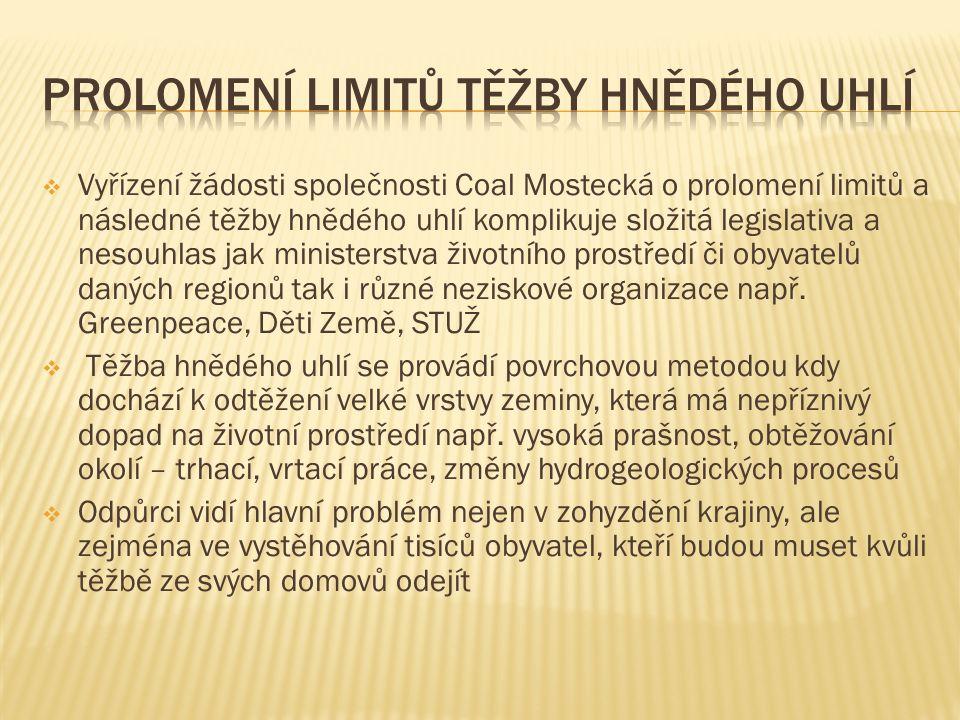  Vyřízení žádosti společnosti Coal Mostecká o prolomení limitů a následné těžby hnědého uhlí komplikuje složitá legislativa a nesouhlas jak ministerstva životního prostředí či obyvatelů daných regionů tak i různé neziskové organizace např.