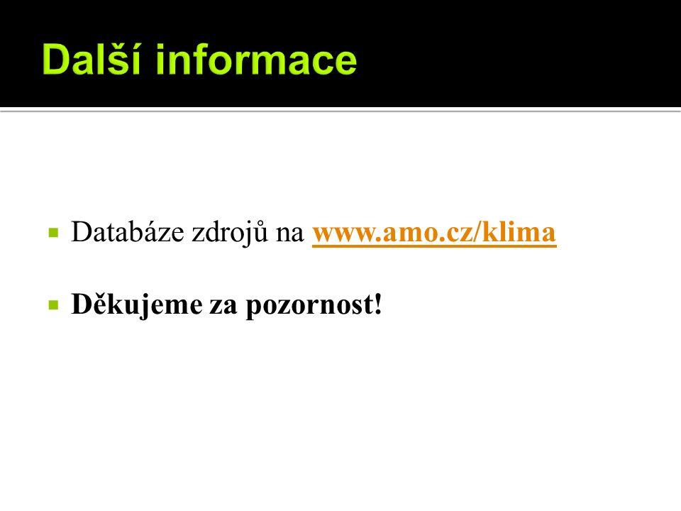  Databáze zdrojů na www.amo.cz/klimawww.amo.cz/klima  Děkujeme za pozornost!