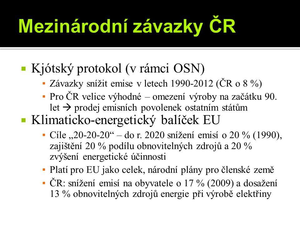  Kjótský protokol (v rámci OSN) ▪ Závazky snížit emise v letech 1990-2012 (ČR o 8 %) ▪ Pro ČR velice výhodné – omezení výroby na začátku 90.