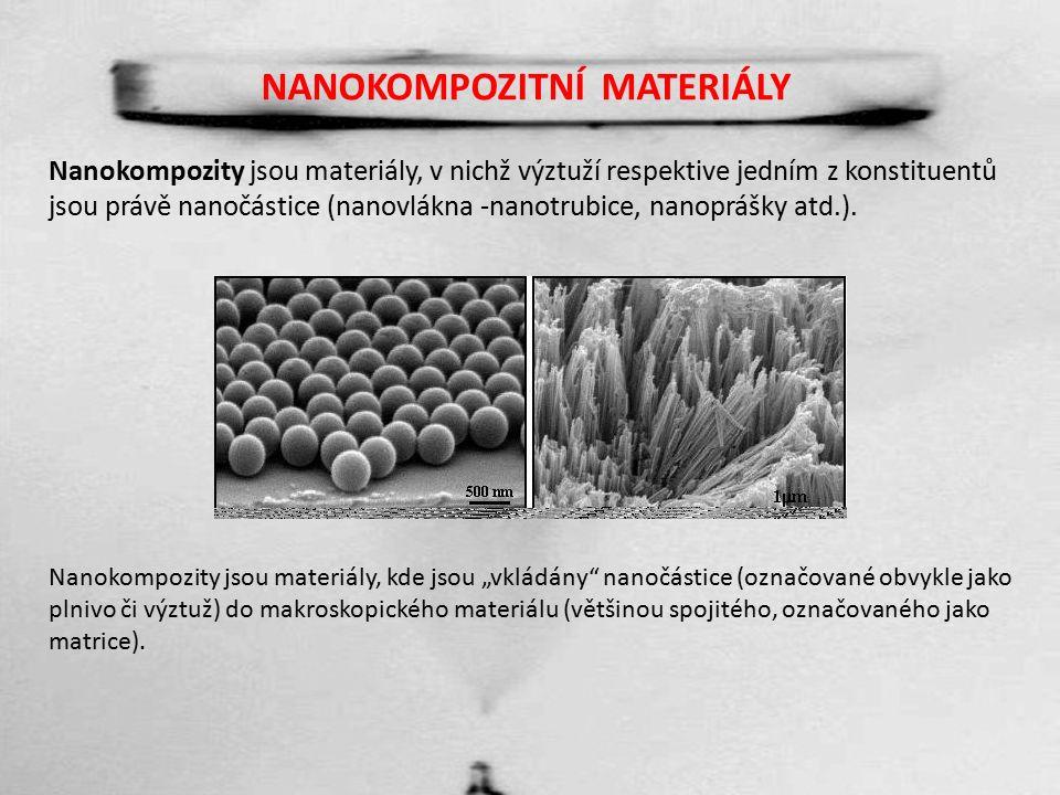 NANOKOMPOZITNÍ MATERIÁLY Nanokompozity jsou materiály, v nichž výztuží respektive jedním z konstituentů jsou právě nanočástice (nanovlákna -nanotrubice, nanoprášky atd.).