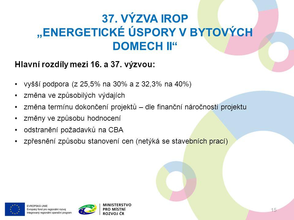 """37. VÝZVA IROP """"ENERGETICKÉ ÚSPORY V BYTOVÝCH DOMECH II"""" 15 Hlavní rozdíly mezi 16. a 37. výzvou: vyšší podpora (z 25,5% na 30% a z 32,3% na 40%) změn"""
