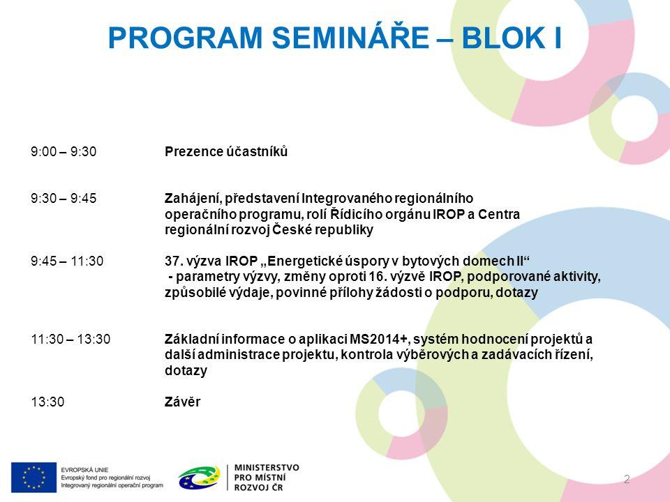 PROGRAM SEMINÁŘE – BLOK I 9:00 – 9:30Prezence účastníků 9:30 – 9:45Zahájení, představení Integrovaného regionálního operačního programu, rolí Řídicího