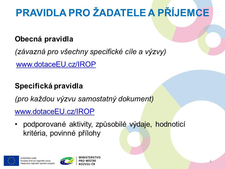 Obecná pravidla (závazná pro všechny specifické cíle a výzvy) www.dotaceEU.cz/IROP Specifická pravidla (pro každou výzvu samostatný dokument) www.dotaceEU.cz/IROP podporované aktivity, způsobilé výdaje, hodnoticí kritéria, povinné přílohy PRAVIDLA PRO ŽADATELE A PŘÍJEMCE 4